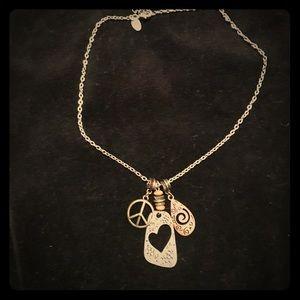 Lia Sophia mixed metal peace necklace